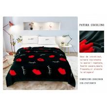 Patura Cocolino pufoasa pentru pat dublu 200 x 230 cm Neagra cu buze