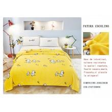 Patura Cocolino pufoasa pentru pat dublu 200 x 230 cm Galbena cu puisori