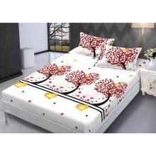 Set Husa de pat din Bumbac Finet cu elastic si 2 fete de perna Copac din inimi 160 x 200 cm