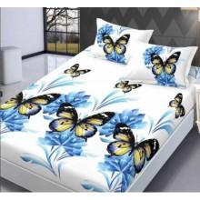 Set Husa de pat din Bumbac Finet cu elastic si 2 fete de perna Fluturi 160 x 200 cm