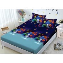 Set Husa de pat din Bumbac Finet cu elastic si 2 fete de perna Ozn