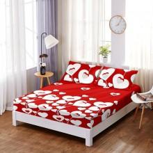 Set Husa de pat din Bumbac Finet cu elastic si 2 fete de perna Rosie cu inimi albe