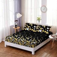 Set Husa de pat din Bumbac Finet cu elastic si 2 fete de perna Neagra cu inimioare