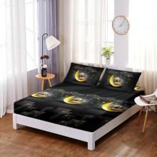 Set Husa de pat din Bumbac Finet cu elastic si 2 fete de perna Caine pe luna