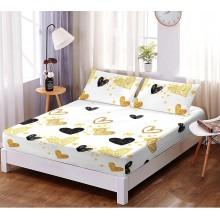 Set husa de pat cu elastic si 2 fete de perna bumbac satinat 180 x 200 cm Alba cu inimi