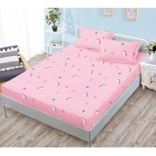 Set husa de pat cu elastic si 2 fete de perna bumbac satinat 180 x 200 cm Roz cu unicorni