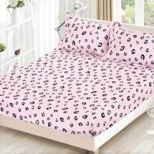 Set husa de pat cu elastic si 2 fete de perna bumbac satinat 180 x 200 cm Roz tip leopard