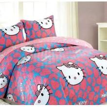 Cuvertura catifea 3 piese pentru pat dublu Hello Kitty