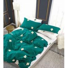 Lenjerie de pat dublu din bumbac 100 % 4 piese Verde cu flori