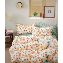 Lenjerie de pat dublu din bumbac 100 % 4 piese Orange flowers