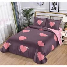 Lenjerie de pat dublu, bumbac finet, cearceaf cu elastic, 4 piese, Love