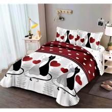 Lenjerie de pat dublu, bumbac finet, cearceaf cu elastic, 4 piese, Pisicute