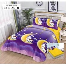 Lenjerie de pat dublu, bumbac finet, cearceaf cu elastic, 4 piese, Moon