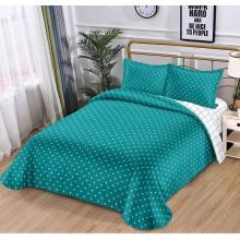 Lenjerie de pat dublu, bumbac finet, cearceaf cu elastic, 4 piese, Green