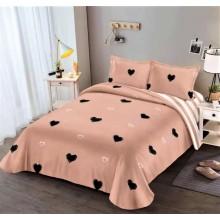 Lenjerie de pat dublu, bumbac finet, cearceaf cu elastic, 4 piese, Roz