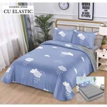 Lenjerie de pat dublu, bumbac finet, cearceaf cu elastic, 4 piese, Blue sky