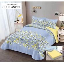 Lenjerie de pat dublu, bumbac finet, cearceaf cu elastic, 4 piese, Imprimeu floral