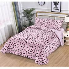 Lenjerie de pat dublu, bumbac finet, cearceaf cu elastic, 4 piese, Animal print