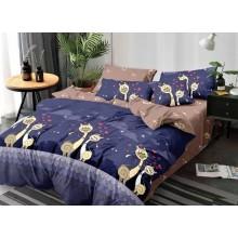 Lenjerie de pat dublu, bumbac finet, cearceaf cu elastic, 6 piese, Pisici indragostite