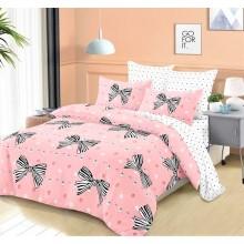 Lenjerie de pat dublu, bumbac finet, cearceaf cu elastic, 6 piese, Roz cu fundite