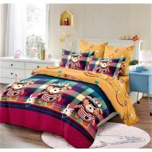 Lenjerie de pat dublu, bumbac finet, cearceaf cu elastic, 6 piese, Ursuleti