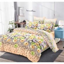 Lenjerie de pat dublu, bumbac finet, cearceaf cu elastic, 6 piese, Flori