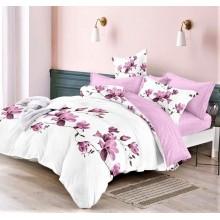 Lenjerie de pat dublu, bumbac finet, cearceaf cu elastic, 6 piese, Magnolii