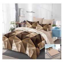 Lenjerie de pat dublu, bumbac finet, cearceaf cu elastic, 6 piese, Geometric