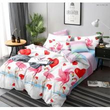 Lenjerie de pat dublu, bumbac finet, cearceaf cu elastic, 6 piese, Flamingo