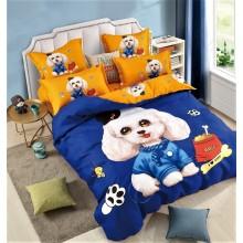 Lenjerie de pat dublu, bumbac finet, cearceaf cu elastic, 6 piese, Puppy