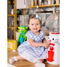 Dozator de apa pentru copii, 2 litri, Hello Kitty alb cu papion mov