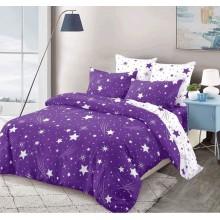 Lenjerie de pat 2 persoane Bumbac Finet 6 piese Mov cu stele