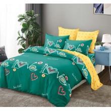 Lenjerie de pat 2 persoane Bumbac Finet 6 piese Verde Love