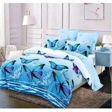 Lenjerie de pat 2 persoane Bumbac Finet 6 piese Bleu cu fluturi
