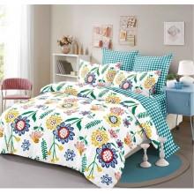 Lenjerie de pat 2 persoane Bumbac Finet 6 piese Imprimeu floral