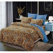 Lenjerie de pat 2 persoane Bumbac Finet 6 piese Imprimeu leopard