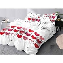 Lenjerie de pat 2 persoane Bumbac Finet 6 piese Alba cu inimi rosii