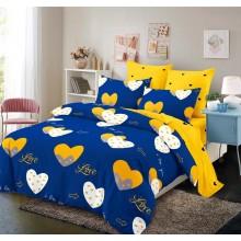 Lenjerie de pat 2 persoane Bumbac Finet 6 piese Galbena cu albastru si inimi