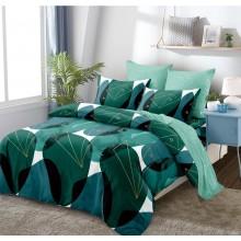 Lenjerie de pat 2 persoane Bumbac Finet 6 piese Verde abstract