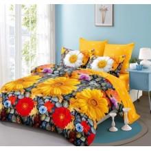 Lenjerie de pat 2 persoane Bumbac Finet 6 piese Margarete multicolore