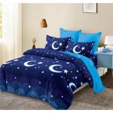 Lenjerie de pat 2 persoane Bumbac Finet 6 piese Bleumarin cu luna