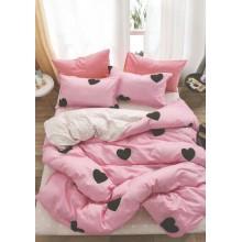 Lenjerie de pat 2 persoane Bumbac Finet 6 piese Roz cu inimi negre