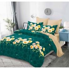 Lenjerie de pat 2 persoane Bumbac Finet 6 piese Verde cu flori