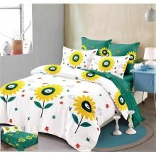 Lenjerie de pat 2 persoane Bumbac Finet 6 piese Floarea soarelui