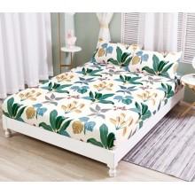 Set Husa de pat cu elastic din Bumbac Finet si 2 fete de perna Floral mode 180 x 200 cm
