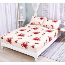 Set Husa de pat cu elastic din Bumbac Finet si 2 fete de perna Ursuleti 180 x 200 cm