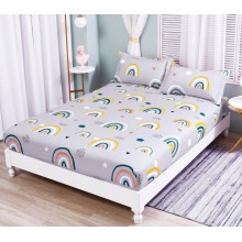 Set Husa de pat cu elastic din Bumbac Finet si 2 fete de perna Curcubeu 180 x 200 cm