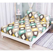 Set Husa de pat cu elastic din Bumbac Finet si 2 fete de perna Romb 180 x 200 cm