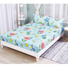 Set Husa de pat cu elastic din Bumbac Finet si 2 fete de perna bleu floral 180 x 200 cm