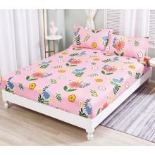 Set Husa de pat cu elastic din Bumbac Finet si 2 fete de perna roz cu flori 180 x 200 cm